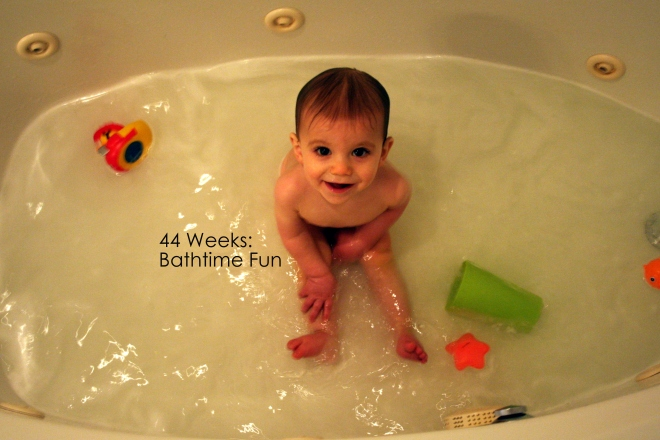 44 weeks bathtime fun
